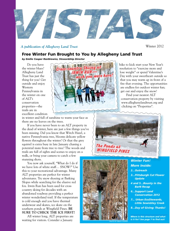 Front cover of ALT Vistas Newsletter Winter 2012
